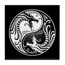 White Yin Yang Dragons with Black Back Tile Coaste