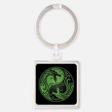 Green Yin Yang Dragons with Black Back Keychains