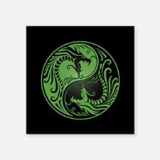 Green Yin Yang Dragons with Black Back Sticker