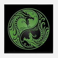 Green Yin Yang Dragons with Black Back Tile Coaste