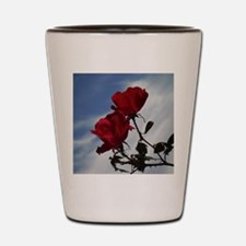 Red Roses blue sky Shot Glass