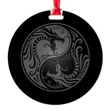 Grey Yin Yang Dragons with Black Back Ornament