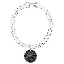 Grey Yin Yang Dragons with Black Back Bracelet