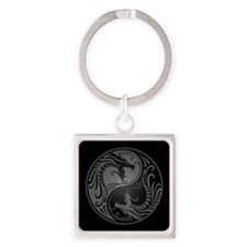 Grey Yin Yang Dragons with Black Back Keychains