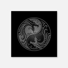Grey Yin Yang Dragons with Black Back Sticker