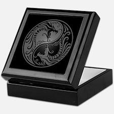 Grey Yin Yang Dragons with Black Back Keepsake Box