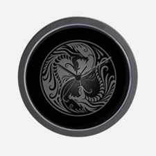 Grey Yin Yang Dragons with Black Back Wall Clock