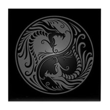 Grey Yin Yang Dragons with Black Back Tile Coaster