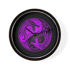 Purple Yin Yang Dragons with Black Back Wall Clock