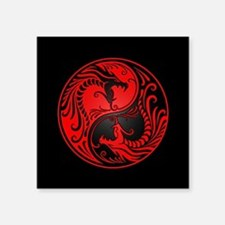 Red Yin Yang Dragons with Black Back Sticker