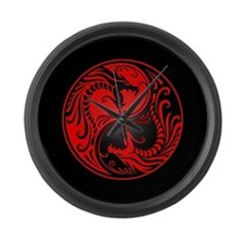 Red Yin Yang Dragons with Black Back Large Wall Cl