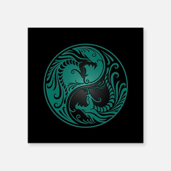 Teal Blue Yin Yang Dragons with Black Back Sticker