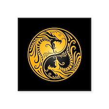 Yellow Yin Yang Dragons with Black Back Sticker