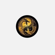 Yellow Yin Yang Dragons with Black Back Mini Butto