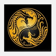 Yellow Yin Yang Dragons with Black Back Tile Coast