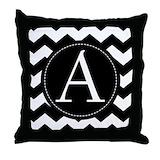 Chevron monogram Throw Pillows