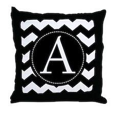 Chevron Monogram Letter A zigzag Throw Pillow