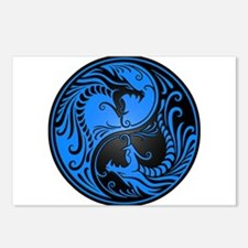 Blue and Black Yin Yang Dragons Postcards (Package