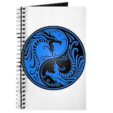 Blue and Black Yin Yang Dragons Journal