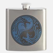 Blue And Black Yin Yang Dragons Flask