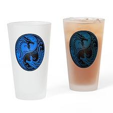 Blue and Black Yin Yang Dragons Drinking Glass