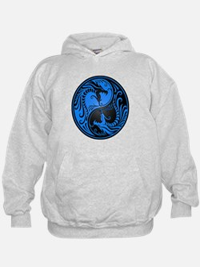 Blue and Black Yin Yang Dragons Hoodie