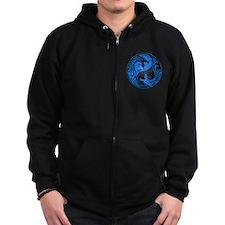 Blue and Black Yin Yang Dragons Zipped Hoodie