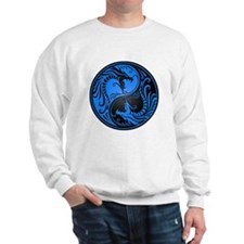 Blue and Black Yin Yang Dragons Sweater
