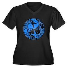 Blue and Black Yin Yang Dragons Plus Size T-Shirt