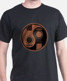 Brown and Black Yin Yang Acoustic Guitars T-Shirt