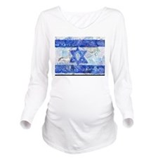Flag of Israel Long Sleeve Maternity T-Shirt