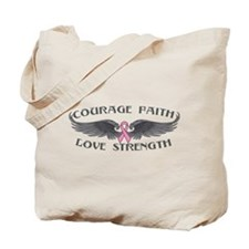 Breast Cancer Courage Wings Tote Bag