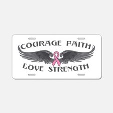 Breast Cancer Courage Wings Aluminum License Plate