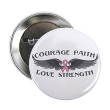 "Breast Cancer Courage Wings 2.25"" Button"