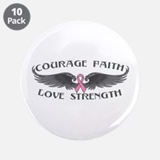 """Breast Cancer Courage Wings 3.5"""" Button (10 pack)"""