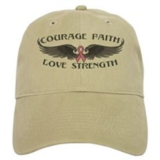 Breast Cancer Courage Wings Baseball Cap