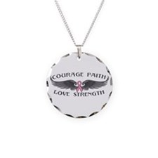 Breast Cancer Courage Wings Necklace Circle Charm