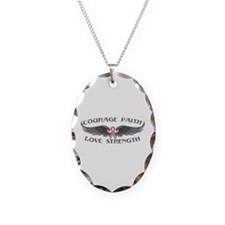 Breast Cancer Courage Wings Necklace Oval Charm