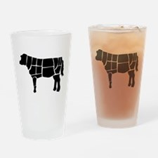 Butchered Cow Silhouette Drinking Glass