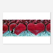 Boston Terrier hearts Trees of Life Postcards (Pac