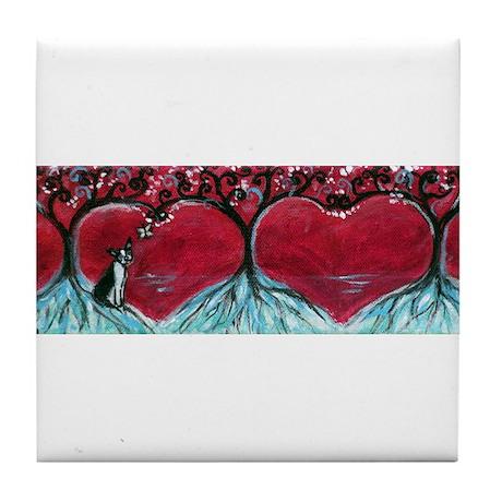 Boston Terrier hearts Trees of Life Tile Coaster