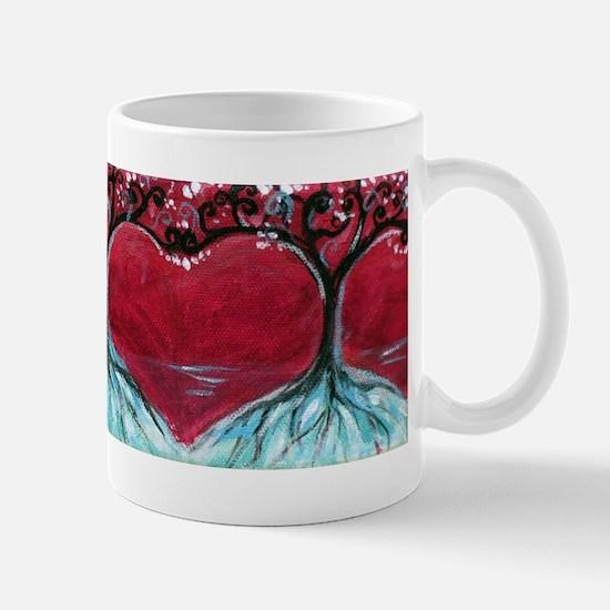 Boston Terrier hearts Trees of Life Mugs