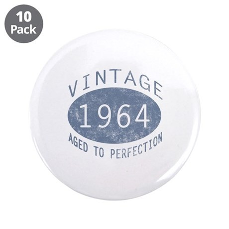 "1964 Vintage Birthday (blue) 3.5"" Button (10 pack)"
