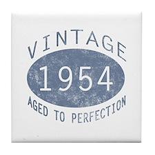 1954 Vintage Birthday (blue) Tile Coaster