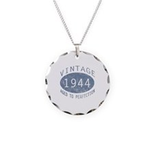 1944 Vintage Birthday (blue) Necklace Circle Charm