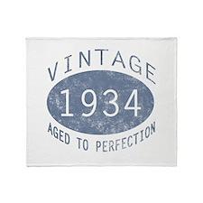 1934 Vintage Birthday (blue) Throw Blanket