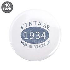 "1934 Vintage Birthday (blue) 3.5"" Button (10 pack)"