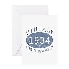 1934 Vintage Birthday (blue) Greeting Card
