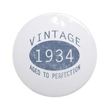 1934 Vintage Birthday (blue) Ornament (Round)