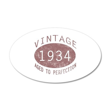 1934 Vintage Birthday (red) 20x12 Oval Wall Decal